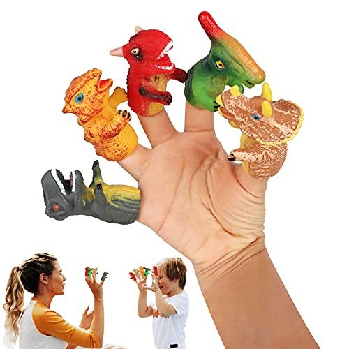 Yisscen 5 Stück Mini Finger Fingerpuppen, Spielzeuge Handpuppe Set Lustige Dinosaurier Fingerpuppen, Tiny Hands Gelten für Halloween Rollenspiele Requisiten Fünf Finger Streichspielzeug für Game...