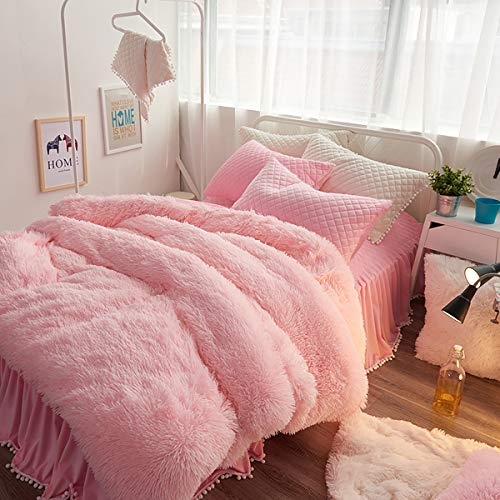 Uozzi Bedding Luxury Plush Shaggy Flannel 3 PC Duvet Cover Set (1 Faux Fur Duvet Cover + 2 Quilted Pillow Shams) Solid,No Inside Filler,Zipper Closure Warm and Soft for Winter (Pink,Queen)