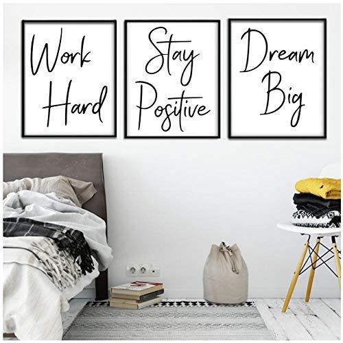 Mulmf Nordic Hard Work Quote Word Art muurkunst, muurkunst, muurschildering, muurschildering, voor woonkamer, 30 cm x 40 cm x 3 cm, zonder lijst