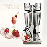 Double Head Commercial Milkshake Machine Stainless Steel Mixing Cup Drink Mixer 110V 18000RMP Ice Cream Maker Milkshake Juicers for Milk, Ice Cubes Suitable in Commercial or Family (2 Head)