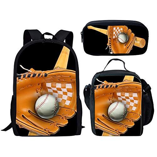 POLERO Baseball-Rucksack mit Federmäppchen & Schulranzen, Game Fans Geschenke, Studenten Bookbag Laptop-Rucksack-Spielraum-Computer-Beutel für Jungen, Mädchen, Kinder Teens