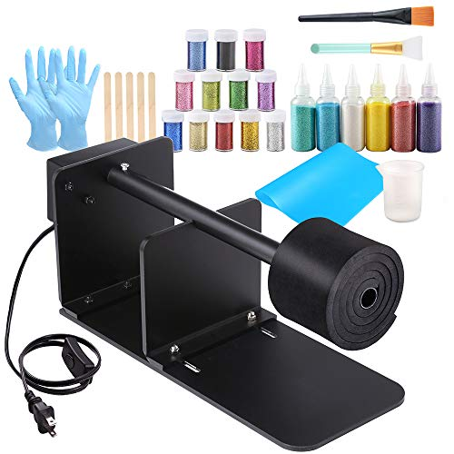 Sntieecr 38 Pieces Epoxy Glitter Tumbler Kit with Tumbler Turner Machine, 18 Pieces Glitter Powders, Silicone Mat, Silicone Epoxy Brushes, Plastic Gloves and Epoxy Tools for Epoxy Resin Craft Tumblers