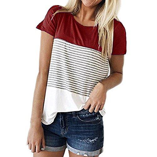 OSYARD Damen Frauen Tops T-Shirts Blusen,Frauen Kurzarm Stripe Patchwork T-Shirt Lässige Bluse Rundhals Tops Tunika Hemd ColorblockSweatshirts OberteileStreetwear