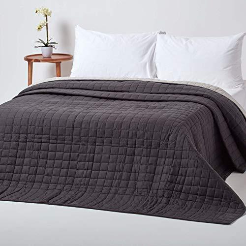 Homescapes Gesteppte Tagesdecke, schwarz/grau, Bettüberwurf aus 100% Baumwolle, Wendetagesdecke, 150 x 200 cm