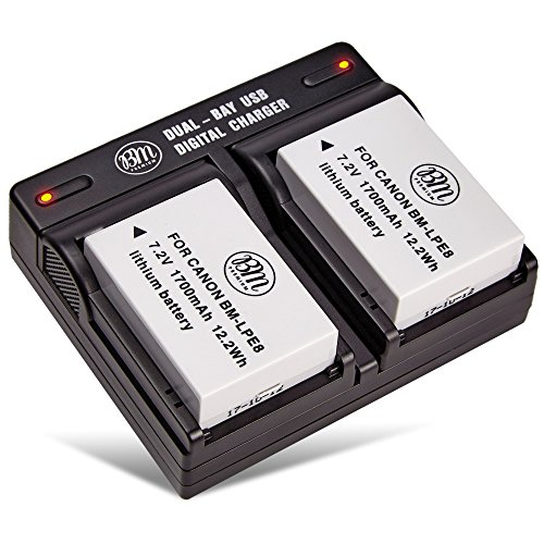 BM Premium 2-Pack of LP-E8, LPE8 Batteries and Dual Battery Charger Kit for Canon EOS Rebel T2i, T3i, T4i, T5i, EOS 550D, EOS 600D, EOS 650D, EOS 700D DSLR Digital Camera