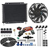 American Volt Heavy Duty 11' Transmission Oil Cooler 9' Inch Electric Fan & 6AN in-line Hose Thermostat Switch Wiring Kit (140'F On - 125'F Off)
