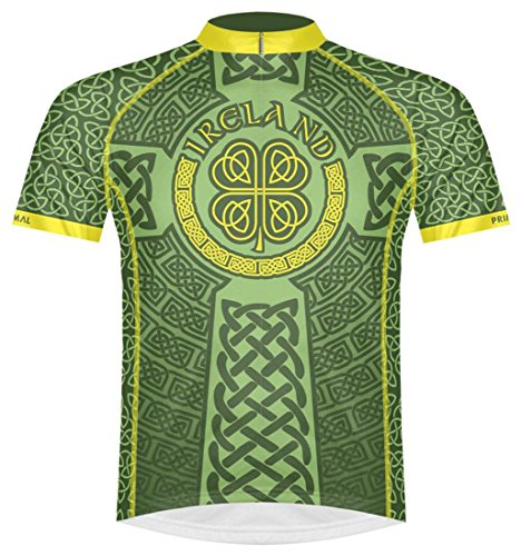 Primal Wear Ireland Celtic Knot Cycling Jersey Men's XL Short Sleeve Irish Green