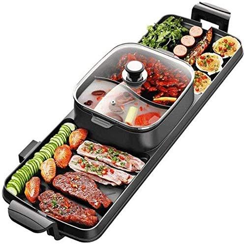 Parrilla eléctrica portátil, Parrilla eléctrica Teppanyaki Grills interior coreano barbacoa y olla...