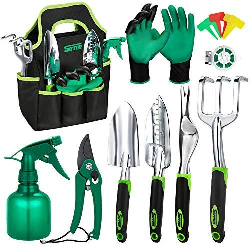 Garden Tools Set 15 Pieces, Stainless Steel Heavy Duty Gardening Tool Set with Ergonomic Handle, Digging Trowel Pruner Weeder Hand Rake, Storage Tote Bag, Gloves Sprayer and More Outdoor Hand Tools