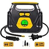 GSPSCN AC/DC Digital Tire Inflator,Portable Air Compressor Pump with 100PSI Auto Shut-Off for Car 12V DC and Home 110V...