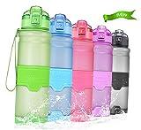 Temfly Botella Deportiva Botella de Agua sin BPA - 500ml/700ml/1L - Gua Botellas con Filtro para Niños, Correr, Gimnasio, Yoga (1000-verde, 1000ml-32oz)