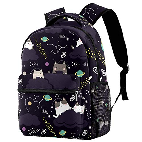 Cute Cat in Space Backpack for Teens School Book Bags Travel Casual Daypack