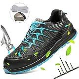 HOAPL Zapatos Seguridad Acero Dedo pie los Hombres Resistentes Desgaste Anti-Piercing Transpirable Ligero Zapatillas Deporte Aire Libre Construcción Industrial Calzado,46