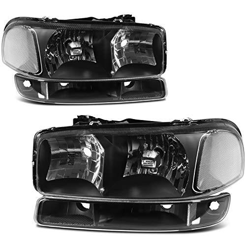 cciyu Headlight Assembly 15850352 Black Housing Clear Reflector Clear Lens Headlamps Fit for GMC Sierra 1500,for GMC Sierra 2500,for GMC Sierra 3500,for GMC Yukon 1999-2006