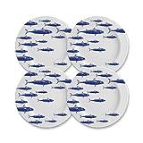 CARTAFFINI SRL Piatto Piano, Decoro Blue Fish, in melamina - Ø 28 cm, H 2 cm - Set 4 Piatti - Colore: Bianco/Blu