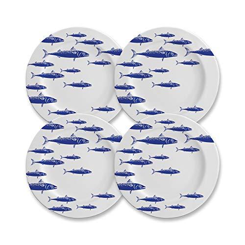 CARTAFFINI SRL Plato llano decorado Blue Fish, de melamina, diámetro 28 cm, altura 2 cm, juego de 4 platos, color blanco y azul