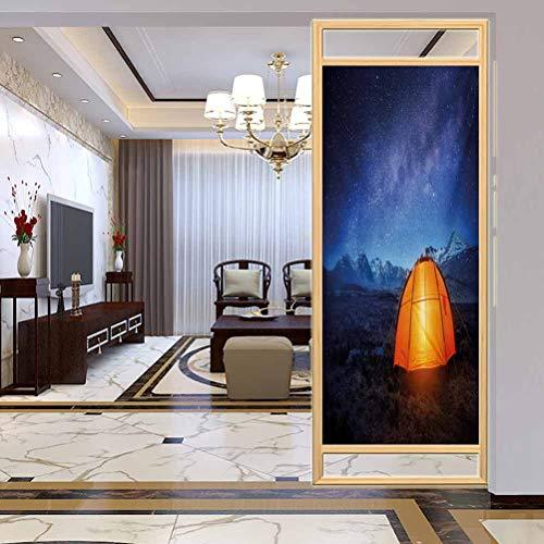 PikaQ Película de vidrio 3D para ventana, tienda de campaña nocturna bajo un cielo nocturno lleno de estrellas, película de tinte para ventana de casa, control de calor, 23.6 x 78.7 pulgadas