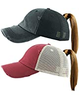 H-216-2-M0664 Distressed Ponycap 2-Pack: Mesh Black& Burgundy