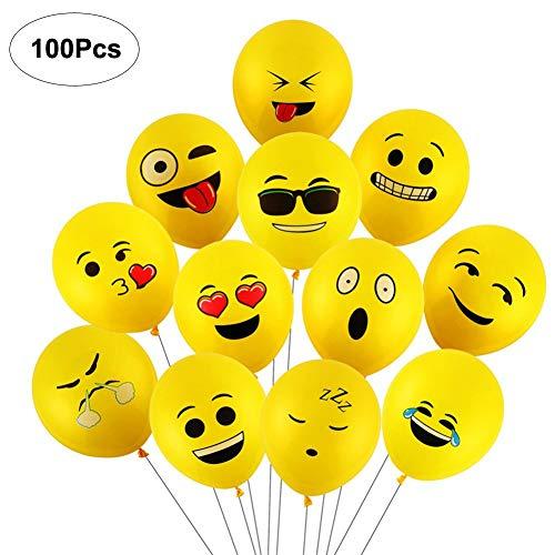 Yizhet Emoji Balloons Luftballons Verschiedene Miene Laune Ballons Smiley Gesicht Ballons Heliumballons Deko für Geburtstagsfeier Hochzeit Party Veranstaltungen Dekoration (100x Smiley Latex Ballons)