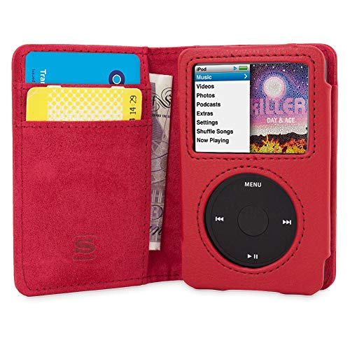 Snugg iPod Classic Case Leather Flip Case Card Slots Executive Apple iPod Classic Wallet Case Cover and Stand  Red  Legacy Series