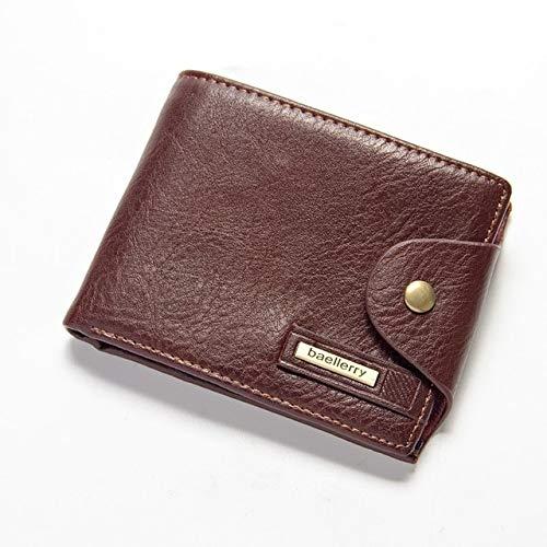 Heliansheng RFID antirrobo Billetera Deslizante Triple Ranura para múltiples Tarjetas Billetera de Cuero para Hombres Bolsa de Monedas-café transversal-D300