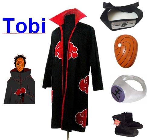 Sunkee Japanische Anime Naruto Cosplay Für Tobi Set -- Akatsuki Ninja Mantel,Größe(XL: Höhe 177cm-184cm) + Tobi Maske +Tobi Ring+Tobi Stirnband+Ninja Schuhe