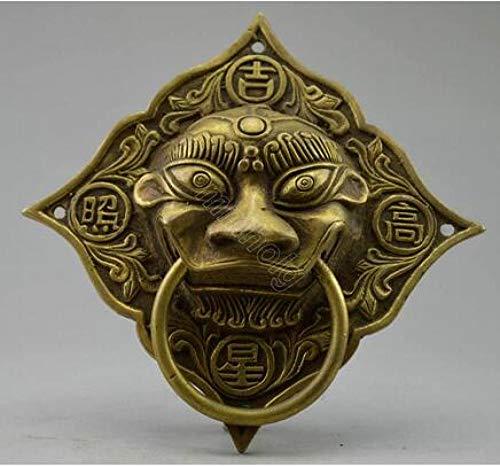 DQQQ Aldaba de dragón de Bronce Hecha a Mano Antigua Decorada de colección Decorada con latón Real