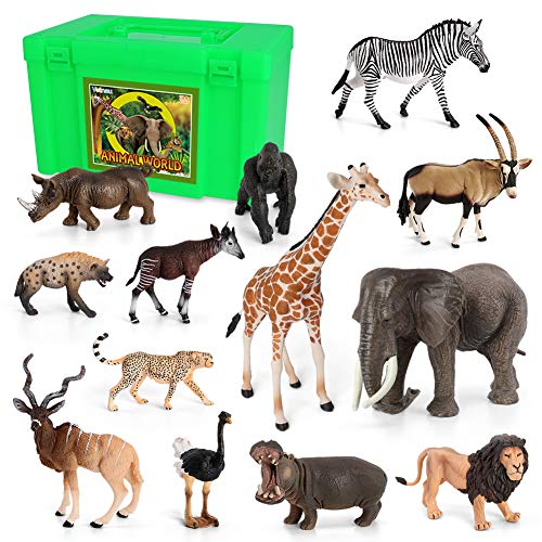 Animal Figurines Toys VOLNAU Africa Animals Figures for Kids Christmas Birthday Gift Zoo Pack Preschool Educational and Lion Jungle Forest King Animals Sets