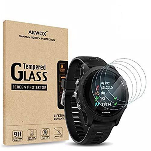 AKWOX [4 Pezzi] Pellicole Protettive Garmin Forerunner 935, [Anti Graffi] [0.33mm] Vetro Temperato per Garmin Forerunner 935 Vetrini Protettivi [Durezza 9H]