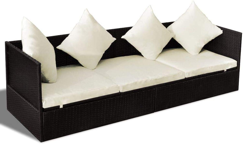 3-Sitzer Rattan Sofa Chair All-Weather Wicker Weave Metallrahmen Chaise Lounge mit 1 groem Sitzkissen und 4 Kissen feuerfesten Schwamm (Braun)