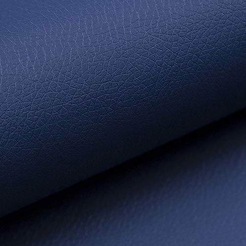 NOVELY® Soltau | 1 lfm | weiches Kunstleder PU Premium Qualität Polsterstoff mehr als 100.000 Touren Echtleder-Optik Möbelstoff (09 Blau)