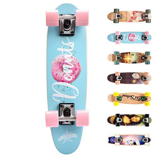 meteor Holz Skateboard Kinder - Mini Cruiser Kickboard - Skateboard mädchen Rollen Board - hohe Qualität Old School Skateboards Holz Deck - Retro Skateboard Jungen (Donuts)