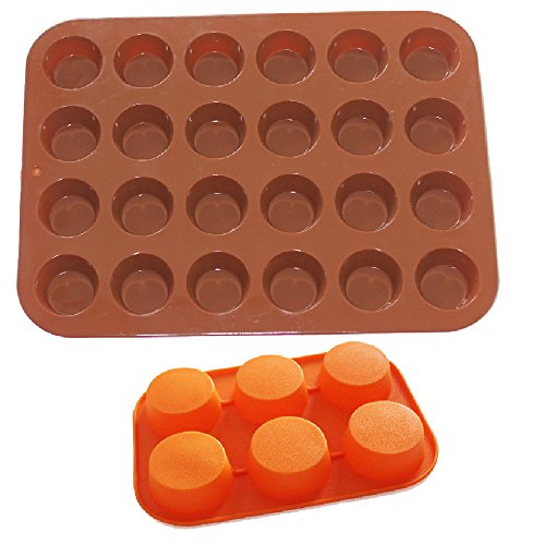 Set of Two Silicone Round Muffin Pan / Tin Cupcake Mold - 24 Mini Cup Silicone Pan + 6 Large Cup Silicone Pan