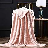 Bertte Throw Blanket Super Soft Cozy Warm Blanket 330 GSM Lightweight Luxury Fleece Blanket for Bed Couch- 50'x 60', Pink