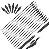 Trintion 10 Stück 30 Zoll Fiberglas Pfeil weiß und Schwarz Naturfeder für Bogenschießen mit Kunststoffbefiederung, Jagdpfeile für Bogen, Traditionellen Bogen, Recurvebogen und Langbogen