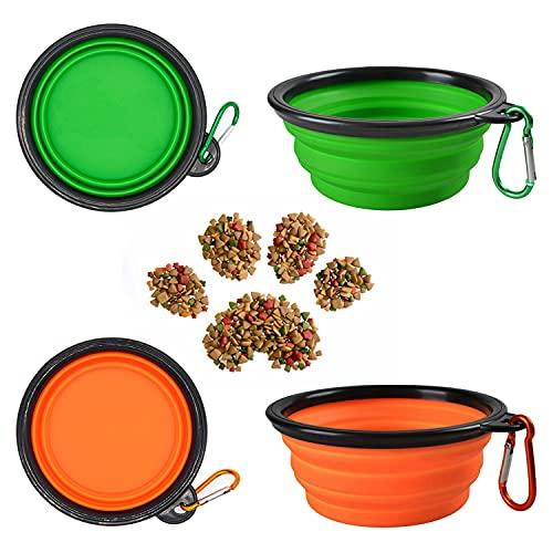 2Pcs Ciotole per cani pieghevoli, Piccola Ciotola Portatile e Pieghevole per Cani di Taglia Media e Piccola o per Gatti, con coperchi e moschettoni (350ML Verde E Arancia)