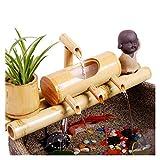 jiande Bamboo Garden Zen Fuente de Agua con Bomba, Interior/Exterior de los Ornamentos, de 7,8 Pulgadas Ronda de Base Plana, Lisa Split-Resistente de bambú, de contenedores Que no está Incluido