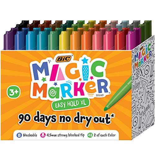 BIC Easy Hold XL Magic Marker, Assorted Colors, 48-Count