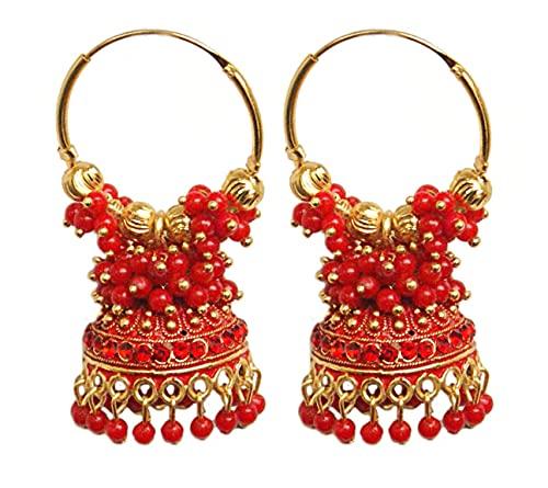 Pahal Ethnic Bollywood Jaipur Red Cluster Pearl Pintado Indio Big Gold Jhumka Pendientes de aro Jhumki Joyería nupcial para mujer