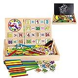 ZoneYan Mathe Spielzeug Montessori, Mathe Spielzeug Rechenstäbchen, Zählstäbchen Montessori, Montessori Mathematik Spielzeug, Rechenstäbchen Holz, Pädagogisches Mathe-Spielzeug für Kinder