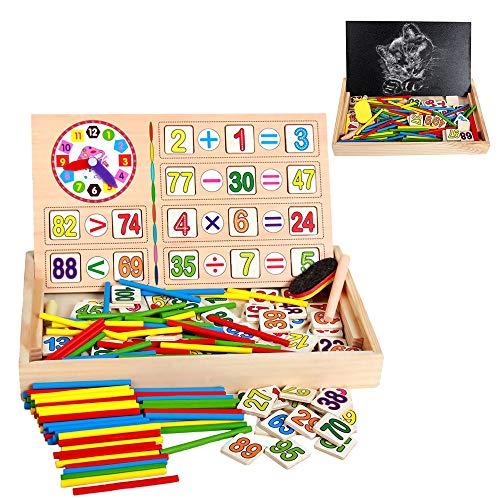 ZoneYan Matematica Palos, Palos de Conteo, Juegos Montessori Matematicas Juguetes, Bloques de Madera de Juguete, Montessori Bloques, Tarjetas de Madera con Números, Juguetes Educativos 3~9 años Niños