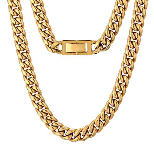KRKC&CO 10mm Panzerkette 18K Gold plattiert Cuban Link Chains Edelstahl Panzerkette Halskette Miami kubanische Gliederkette für Herren Goldene Halskette Hip Hop Halskette für Männer Jungen Größe 51cm