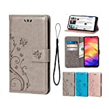 Wallet Case for Xiaomi Redmi Note 7/Note 7 pro, Premium PU Leather Flip Kickstand Cover Butterfly Flowers with Card Holders and Wrist Strap Magnetic Closure Stand Case for Xiaomi Redmi Note 7-Grey