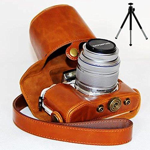 First2savvv XJPT-EPL7-09G6 Funda Cámara Cuero de la PU cámara Digital Bolsa Caso Cubierta con Correa para Olympus Pen E-PL7 EPL7 con Lente 14-42mm marrón + Mini trípode