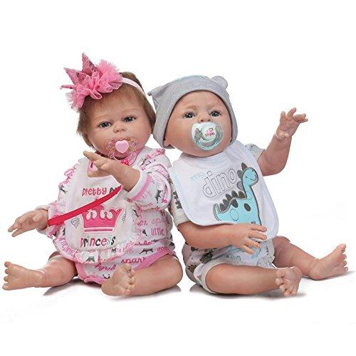 iCradle 20 Pulgadas 50 cm de Cuerpo Completo de Silicona muñecas de Vinilo Reborn Baby Dolls Girl Boy Twins Doll Realista Reborn Bebe Realista para niños pequeños Edad 3+ (Twins)