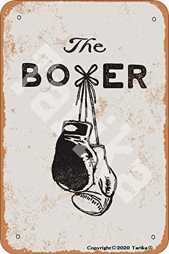 Tarika The Boxer - Cartel decorativo de metal con aspecto retro (20 x 30 cm)