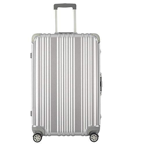 CheungLeeスーツケース キャリーケース キャリーバッグ 高級ABS樹脂+PC 360度回転 静音タイヤ 角を保護するコーナープロテクター飛行機用アルミ蝶番 (シルバー,Mサイズ)