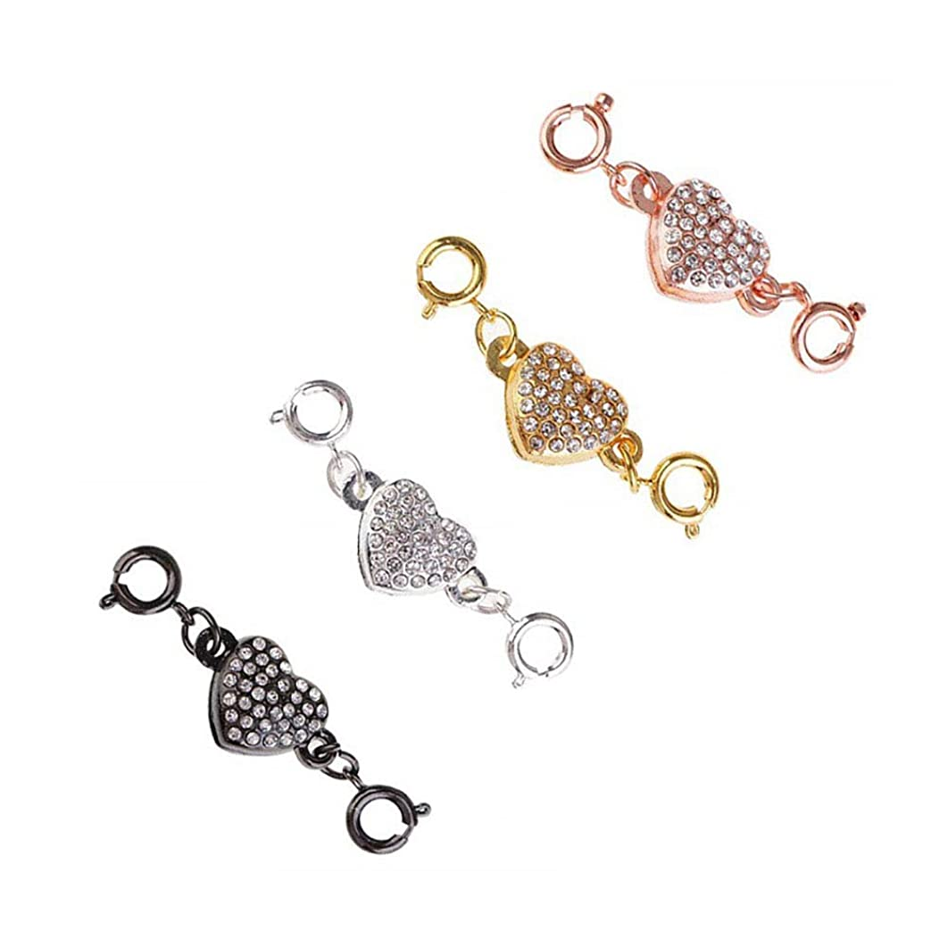 Set of 4 Heart-Shaped Rhinestone Easy Magnetic Necklace Clasp 4 Colours Strong Lobster Clever Clasps Converters Jewelry Clasps for Necklace Bracelet DIY Jewelry Making