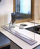 Solarplexius Spuckschutz mit Durchreiche Hustenschutz Niesschutz Virenschutz Thekenaufsatz Tischaufsatz Tresenaufsatz Antibakteriell Transparent Acrylglas (150 x 60 cm)
