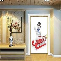 ドアステッカードアデカール3D サンタ雪だるまウォールステッカー3Dドアステッカー防水